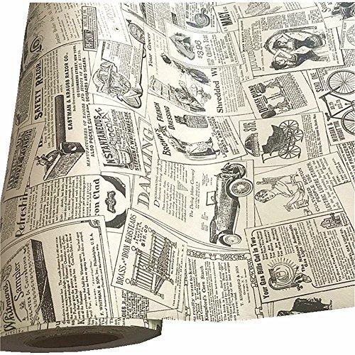 teemall 43,2x 299,7cm Selbstklebende PVC Vintage Zeitung Kontakt Papier Vinyl Regal Schublade Liner Home Decor Zeitung (Kontakt-papier-fenster-folie)