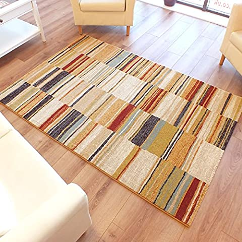 Woodstock Candy Stripes Rug 32303-6372 Cream, Red, Blue, Beige, Gold & Green Multi Coloured1.33m x 1.9m (4'4 x 6'3 approx)
