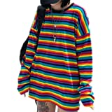 Tasty Life T-Shirt A Righe Arcobaleno T-Shirt da Donna, Top Girocollo di Colore Harajuku Casual T-Shirt Elegante Allentata A