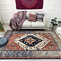 Traditional Vintage Style with Floral Area Rugs Carpet, Red, Easy to Clean Soft Living Dining Room (80 x 160cm)