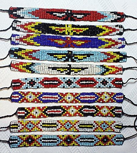 10 x Indianer Armband Perlen zum binden verschiedene Motive für KINDER oder ERWACHSENE Geburtstag Party Kindergarten