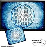 Set: 1 Fußmatte Türmatte (60x40 cm) + 1 Mauspad (23x19 cm) - Mandalas, Die Blume des Lebens, Element Wasser