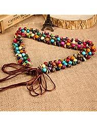 WZW Tisser des accessoires de jupe ceinture perles en bois colorées à la main