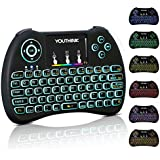 2.4GHz Wireless Mini Keyboard,Colorful Backlit With Rechargeable Battery,Mouse Touchpad Combo For Android TV Box, Windows PC, XBOX 360, PS3, PS4, HTPC, IPTV, Raspberry Pi 3 And More (Colorful Backlit)