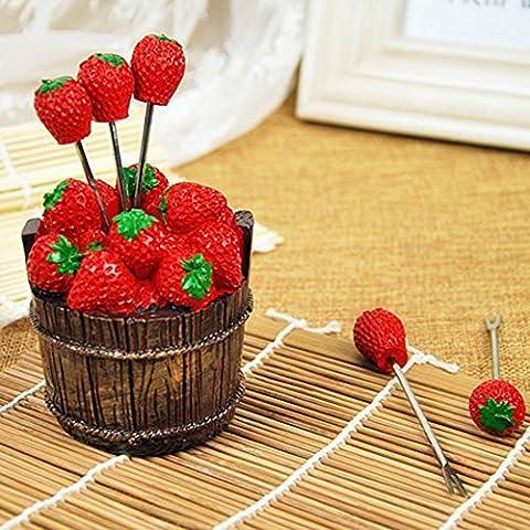 Swallowzy Creative Fruit Forks Erdbeere geformte Gabel Edelstahl Food Cake Gabeln mit Gabel Gabelhalter (1 x Cask Base + 5 x Fruit (Essgeschirr Platter)