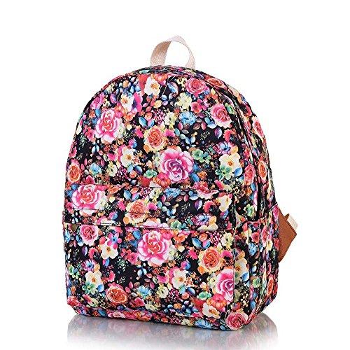 OUFLY Deep Blue & Plum Flower Vintage bedruckte Blumensegeltuch Rucksack Schule Laptop Tasche Outdoor Knapsack Tasche für Frauen Mädchen Jugend Rose