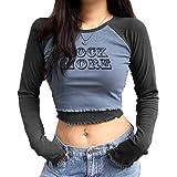 ORANDESIGNE T-Shirt Y2k Retro con Girocollo in Pizzo a Maniche Lunghe Crop Top Stampa di Lettere T-Shirt Moda Casual Blocco d