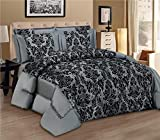 LUXURY 3pcs Flock Quilted Bed Spread Bedspread Comforter Set Size Double King UK Fusion (TM) (King, Grey)