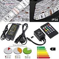 LinkSquare 5m Kit Complet Tira de RGB LED (Multicolor 5050 SMD) 300 LEDs con 20 Botones IR Control Remoto, Música Controlador y Fuente de Alimentación 12V 5A