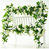 Rose Garland Artificial Rose Vine with Green Leaves 63 Inch Pack of 3 Flower Garland For Home Wedding Decor (White)