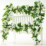 Guirnalda de rosas artificiales, rosas con hojas verdes, 3unidades, 160cm de guirnalda de flores...