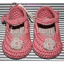 Patucos Merceditas para bebé de crochet, de color Rosa palo y gris claro, 100