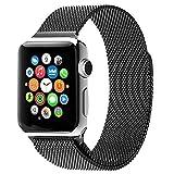 MMOBIEL Cinturino orologio (42 mm) Ultra sottile in acciaio stile Milanese di ricambio per Apple Watch serie (Nero)