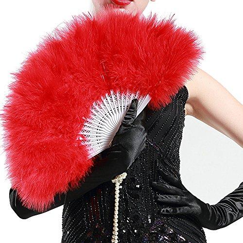 ArtiDeco Damen Fächer Marabou Feder 1920s Vintage Stil Retro Handfächer Damen Gatsby Kostüm Flapper Zubehör (Rot) (Rotes Haarspray Halloween)
