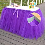 Sundlight Elegant Tulle Table Skirts with Bow tie for Wedding, Birthday,Meetings and Home Party Decorations- Purple