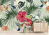 HHCYY Tropische Pflanzen Der Kundenspezifischen Tapeten 3D Blätter Blatt Flamingo Fernsehsofas 3D Hintergrundwand-350cmx245cm