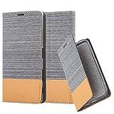 Cadorabo Hülle für Sony Xperia Z5 Premium - Hülle in HELL GRAU BRAUN – Handyhülle mit Standfunktion und Kartenfach im Stoff Design - Case Cover Schutzhülle Etui Tasche Book