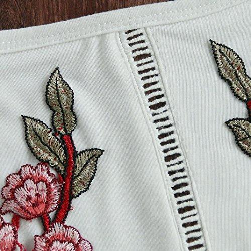 Tank Top VENMO@Frauen Stickerei Behälter Sommer Kurzschluss Halter Oberseite Weiß