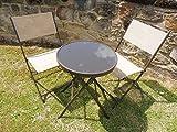 Marrón 3piezas Metal patio jardín bistro–Juego de 2sillas plegables y mesa