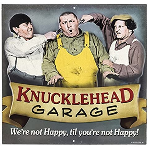 Three Stooges Knucklehead Garage Tin Sign - 12