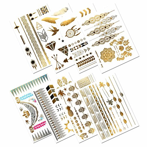 Tatuaggi temporanei metallici, prettydate 150+ henna & boho gioielli di design in oro, argento, nero, falso glitter tattoos- bracciali, collane, cinturino, cavigliere e armband (8fogli)