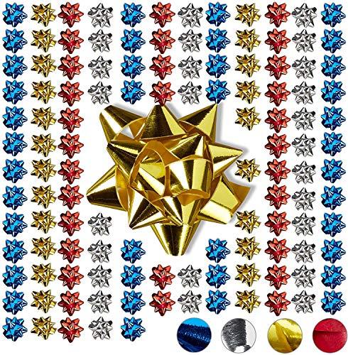 relaxdays fiocchetti per pacchetti regalo set 100 pezzi, autoadesivi, stelle decorative per natale e compleanni, polipropilene, multicolore, 2 x 5 cm
