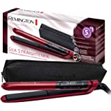 Remington S9600 Silk - Plancha de Pelo, Cerámica, Digital, Placas Flotantes Extralargas, Rojo, Resultados Profesionales, Rojo