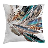 Feather House Decor Throw Pillow Cushion Cover, Vaned Types and Natal Contour Flight Feathers Animal Skin Element Print, Decorative Square Accent Pillow Case, 18 X 18 Inches, Teal Brown