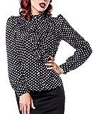 Schwarze Rüschen Schluppenbluse weiß gepunktet mit Jabot und Strassknöpfen Stehkragen Rockabilly Bluse Damen Retro XL