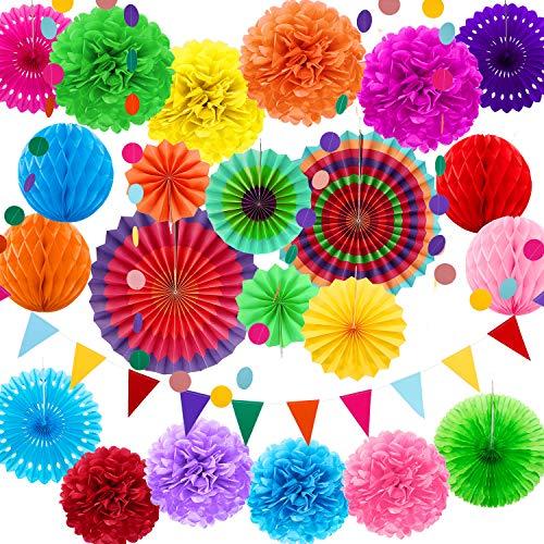 25 Stücke Mexikanische Fiesta Thema Party Dekorationen Mehrfarbig Papier Fans Pom Poms Blumen Girlanden String Kreis Dot Dreieck Bunting Flags Honeycomb Ball Regenbogen für Mexikanische Fiesta