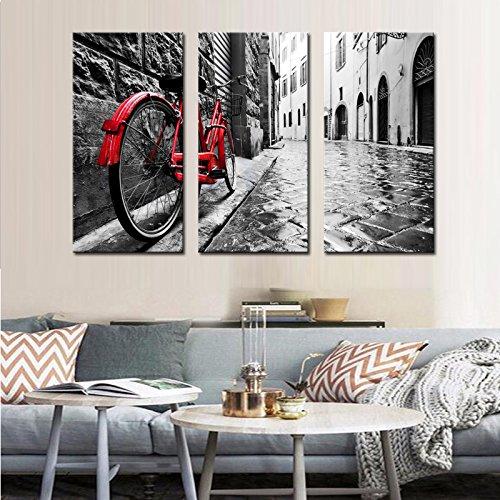 BAIYANGYANG Moderna Tela telaio Wall Art Decor di immagine del pannello 3 di bicicletta rossa magra contro la parete bella Stree HD Poster Stampa PENGDA,30cmx40cmx3pc,Frame