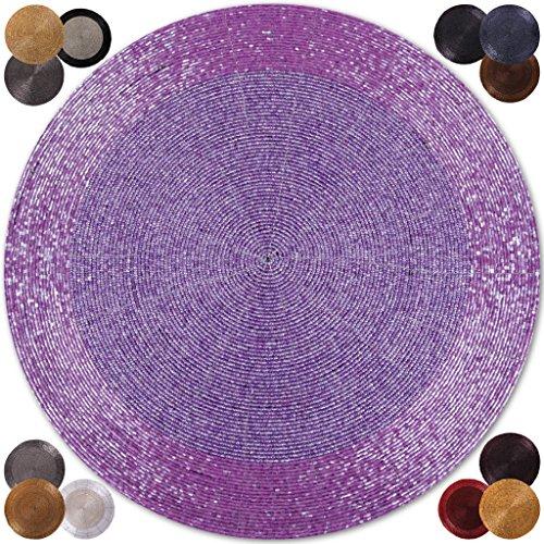 Perle Untersetzer (6er Pack Glasperlen Tischset handgefertigt Ø36cm in vielen Farben erhältlich (flieder - lila))