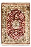 Morgenland Seidenteppich Kaschmir Reine Seide 120 x 80 cm Rot Handgeknüpft