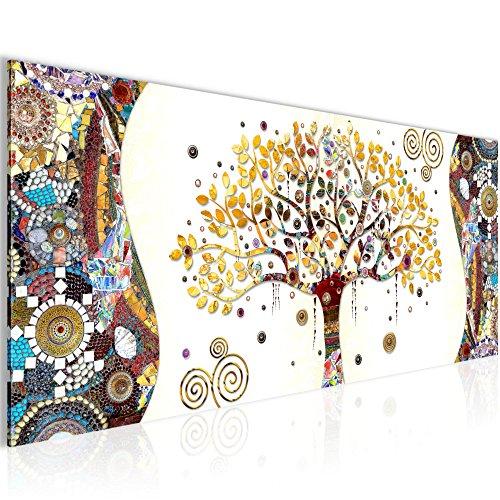 Bilder Gustav Klimt - Baum des Lebens Wandbild 100 x 40 cm Vlies - Leinwand Bild XXL Format Wandbilder Wohnzimmer Wohnung Deko Kunstdrucke Braun 1 Teilig -100% MADE IN GERMANY - Fertig zum Aufhängen 004612a (Bilder Bäume)