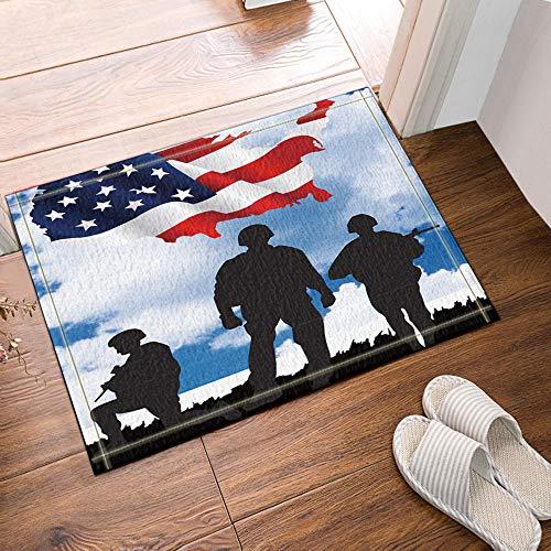 GAOFENFFR Schöne rote amerikanische Flagge und 3 Spezialeinheiten schwarzer Schatten unter blauem Himmel wasserdichte rutschfeste Fußmatten ohne Chemikalien