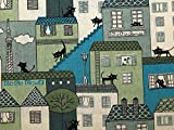 Katze Landschaft Print Baumwolle & Leinen Canvas Stoff