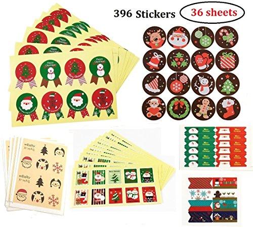 396pz 36 fogli Adesivi Decorative,Sticker Decorazioni Scrapbooking Diario,Natalizi Stickers Decorazione per Natale Chiudi Buste Regalo Sacchetto Bomboniere