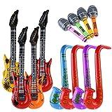 DORSION aufblasbares Mikrofon, Aufblasbare Prop,Aufblasbare Gitarre musikalische Instrumente Spielzeug, 12 Stück (zufällige Farbe)