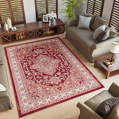 Tapiso colorado tappeto salotto moderno soggiorno rosso motivo floreale orientale tradizionale 200 x 300 cm