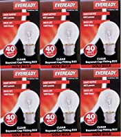 6 x EVEREADY Classic Mini Globes 40W, BC B22 B22d, Clear Round Light Bulbs, Bayonet Cap, Golf Ball Incandescent Dimmable P45/G45 Lamps, Mains 240V by EVEREADY