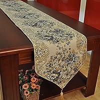 Hiendure® Runner per tavolo color oro nappe floreale blu , 28cm *250 cm