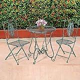 Style home Garten Set Wintergarten Terrasse Bistro Restaurant Esszimmer Tisch und Zwei Stühle Metall Kupferpatina SH17G03001-BLU