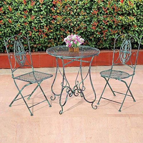 Stuhl Metall (Style home Garten Set Wintergarten Terrasse Bistro Restaurant Esszimmer Tisch und zwei Stühle Metall Kupferpatina SH17G03001-BLU)