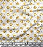 Soimoi Orange Poly Krepp Stoff Flocken dot & Schnee Blumen-