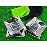 ELECTROPRIME 12 x 12cm Square Stainless Steel BBQ Picnic Plate Travel Camping Dinner