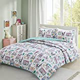 Comfort Spaces Girls/Boys Bedding Twin Size - Paco, Cats, Eiffel Tower 3 Piece Cute Toddler/Kids Mini Quilt Set - Aqua - Hypoallergenic Microfiber - All Season