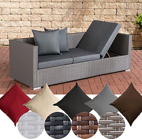 CLP flexibles Poly-Rattan 3er Lounge-Sofa SOLANO, ALU-Gestell, 4 Rattanfarben + 5 Kissenfarben, inkl. Auflagen Rattanfarbe: Grau, Kissenfarbe: Eisengrau