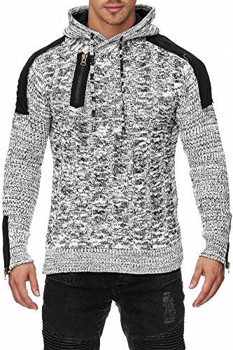TAZZIO Herren Grobstrick Kapuzen Pullover 15454 Weiß