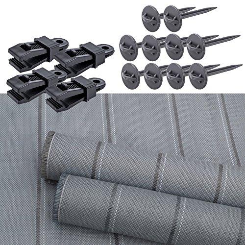 Arisol Vorzeltteppich 250x400 inklusive 4x Bo-Camp Teppichclips und 10x Zeltheringe für Wohnwagen...