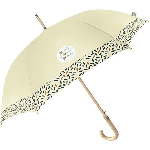 PERLETTI GREEN Ombrello Pioggia Lungo Ecosostenibile da Donna Automatico - Manico in Legno Biodegradabile Auto - Ombrello Classico Elegante Antivento Robusto Ecologico (Beige con Semi)